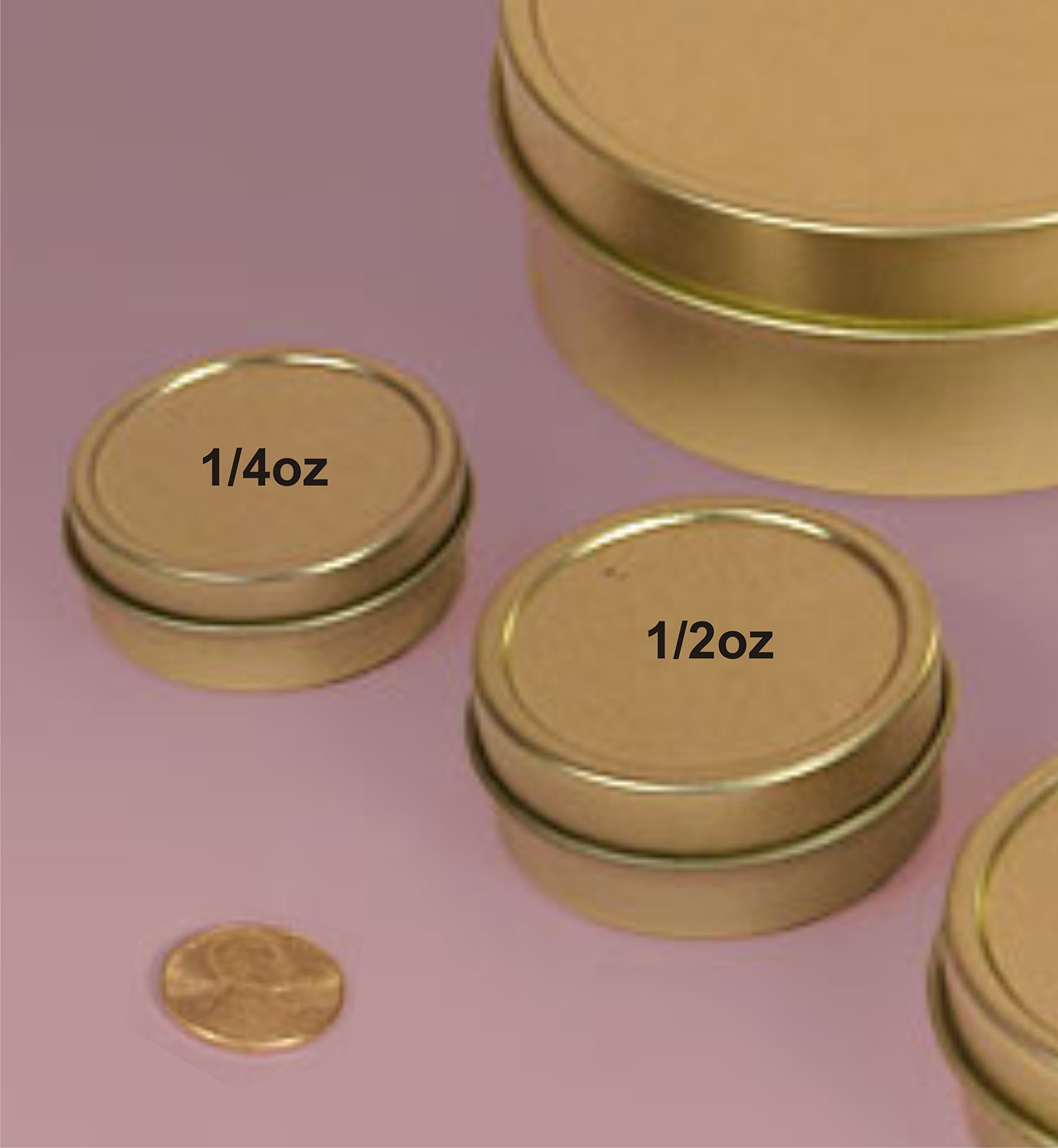 MagnaKoys 1/4oz & 1/2oz Empty Gold Slide Top Round Tin Containers for Lip Balm, Crafts, Cosmetic, Candles, Pocket Size (20, 1/2oz Tins)
