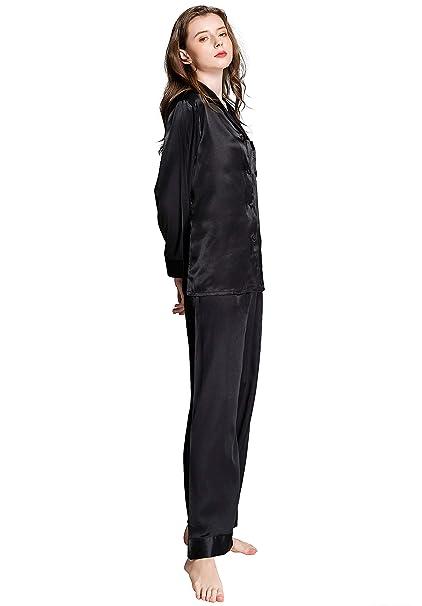 f178831747c909 Damen Seide Pyjama Set Schlafanzug Sleepwear Homewear XS~3XL Plus-Größe