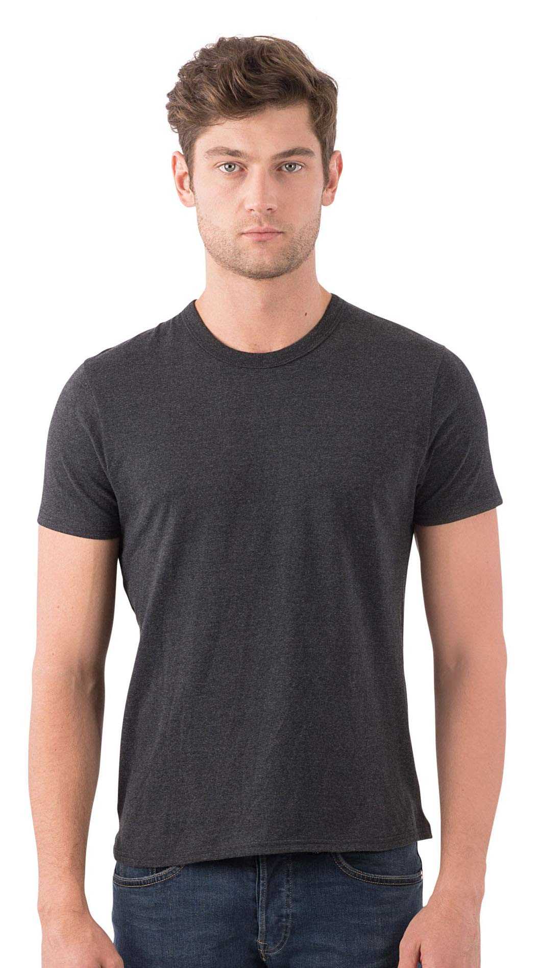 SOIZZI Fashion Men's 100% Organic Cotton Basic Crew Neck Short Sleeve Tee Dark Heather Grey-XL