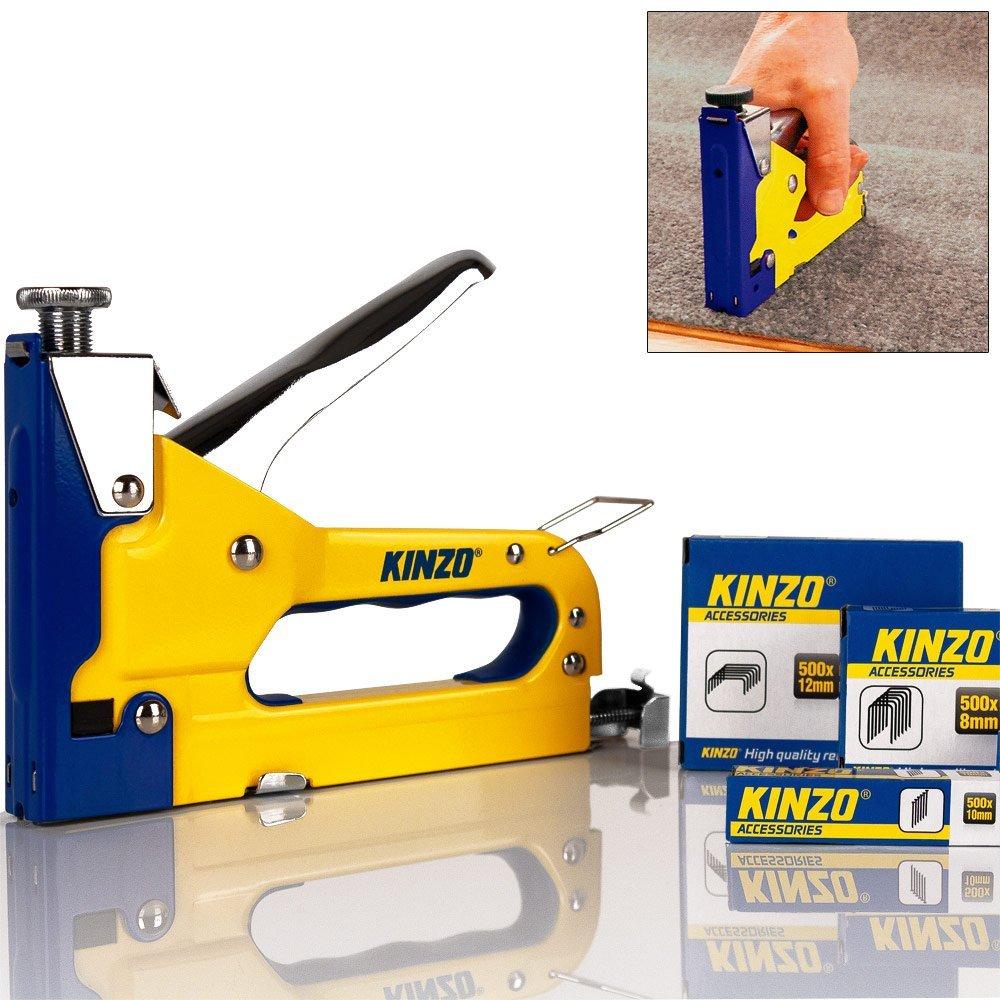 Kinzo Agrafeuse Manuelle 3 en 1 Jaune - Cloueuse Bricolage Outil Agrafes Clous Flostream 871125279439