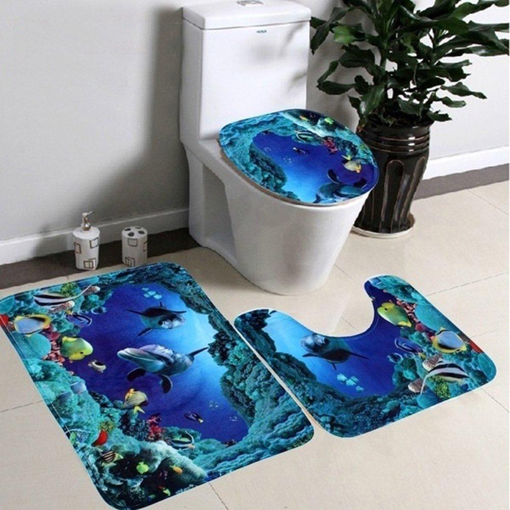 3 Piece Bathroom Rugs Set, Soft Non Slip Memory Foam Bathroom Mats Rug Mats -Shower Bath Rugs,Contour Mat and Lid Cover (Ocean Fishes Pattern Bathroom Mat for Kids)