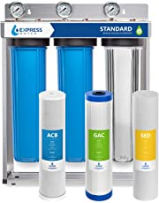 Express Water Whole House Water Filter, 3 Stage Home Water Filtration System, Sediment, Charcoal, Carbon Filters includes Pressure Gauges, Easy Release, and 1 Inch Connections
