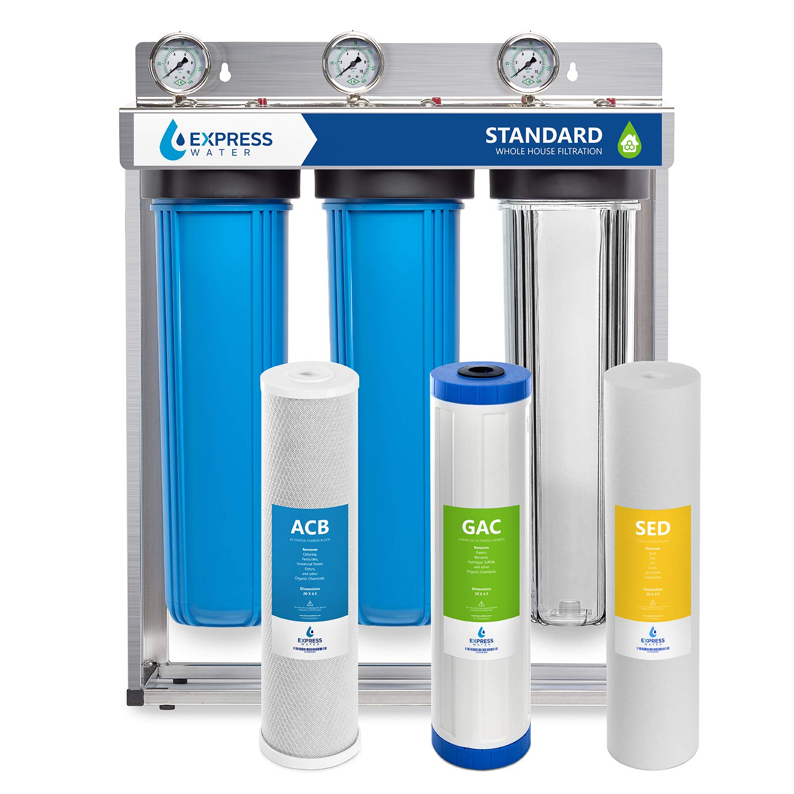 Express Water Whole House Water Filter, 3 Stage Home Water Filtration System, Sediment, Charcoal, Carbon Filters includes Pressure Gauges, Easy Release, and 1 Inch Connections by Express Water