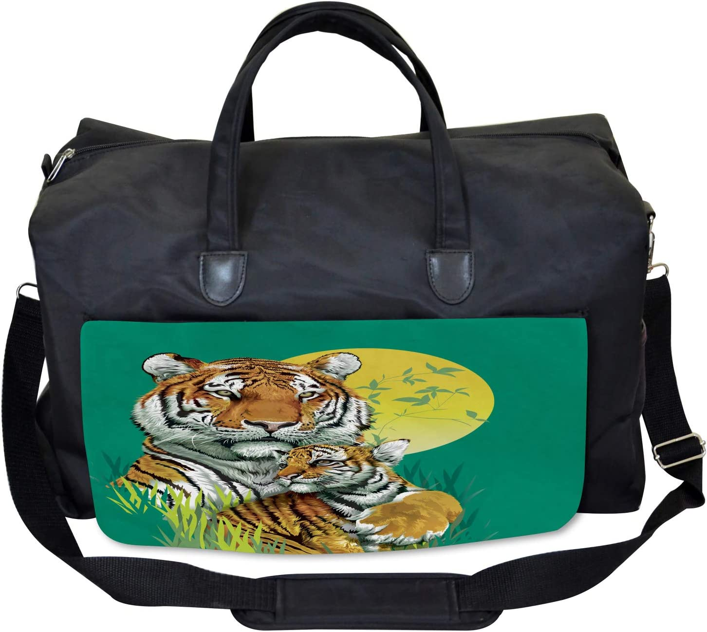 Large Weekender Carry-on Ambesonne Safari Gym Bag Tiger Family in Jungle