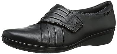 CLARKS Womens Everlay Drew Flat, Black Leather, ...