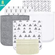 5 Pack Baby Burp Cloths Set - Upgraded Ultra Absorbent 100% Organic Cotton, Soft and Breathable Towels, Larger 21''×10'', Double Layer with 3 Pack Small Baby Washcloths for Newborns, Boys and Girls