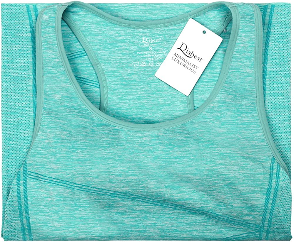 DISBEST Yoga Tank Tops for Women Stretchy Sleeveless Shirt Workout Running Tops with Removable Bra Pads