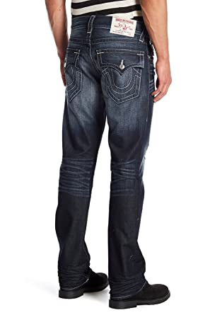 1495d4f8f True Religion Men s Straight Leg Relaxed Fit Jeans w Flaps and Rips in  Dragons Lair