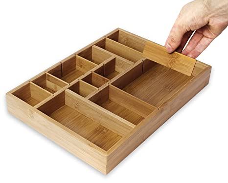 Juvale Kitchen Drawer Organizer With Removable Dividers Silverware Organizer Cabinet Organizer For Utensils And Cutlery Utility Drawer Bamboo