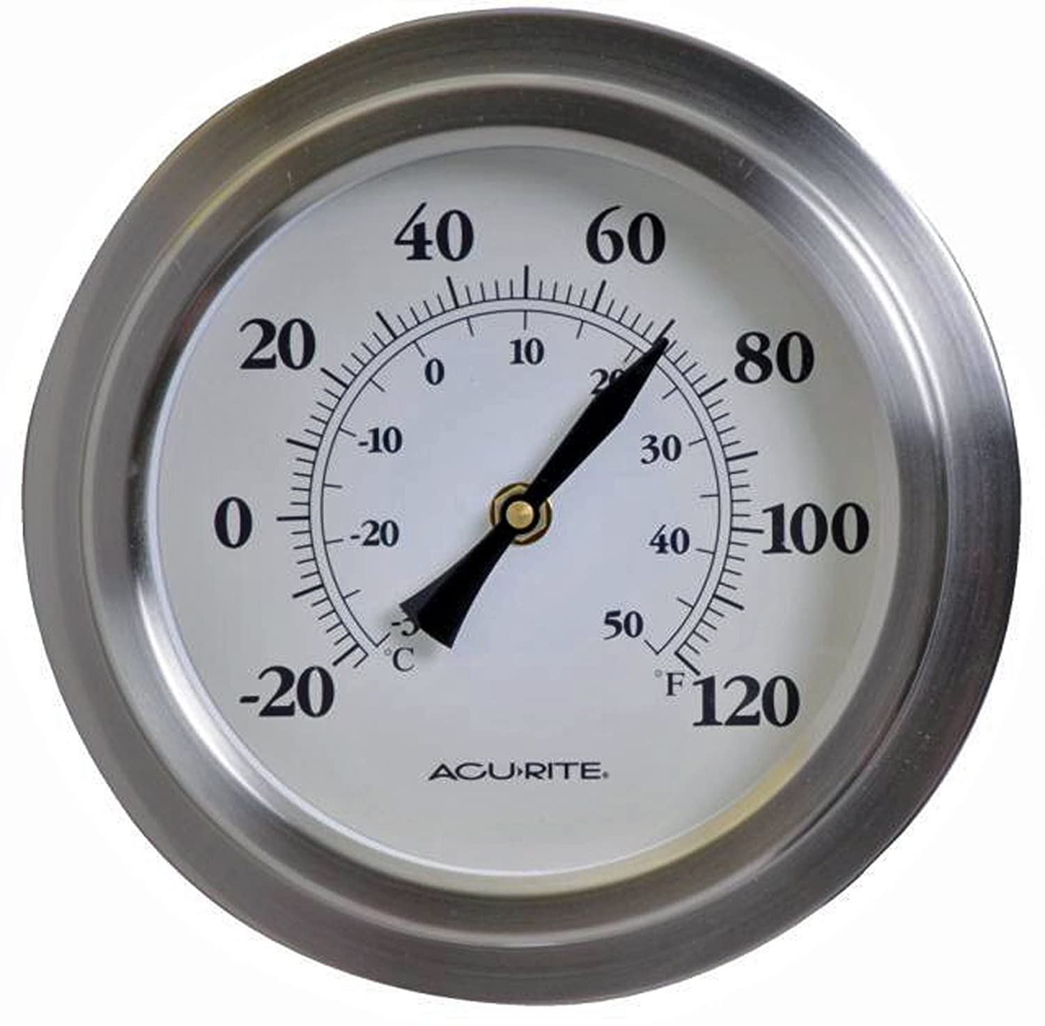 AcuRite 02320 8-Inch Brushed Nickel Porthole Thermometer
