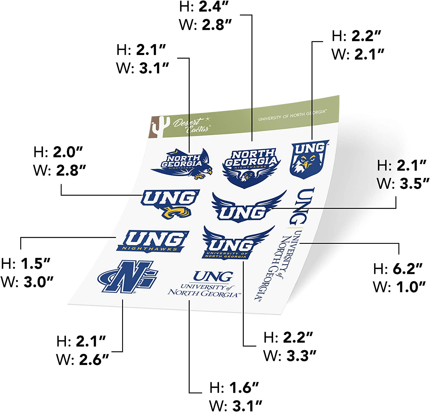 Sheet Type 3-1 University of North Georgia UNG Nighthawks NCAA Sticker Vinyl Decal Laptop Water Bottle Car Scrapbook