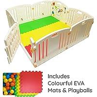Venture All Stars Baby Playpen | 8 PC 's XXL einschließlich der Panel Tätigkeit lustige | Matten des Flur cabido und glänzende Farbe Spielen Bälle | Starke und Durable, Laufstall Baby