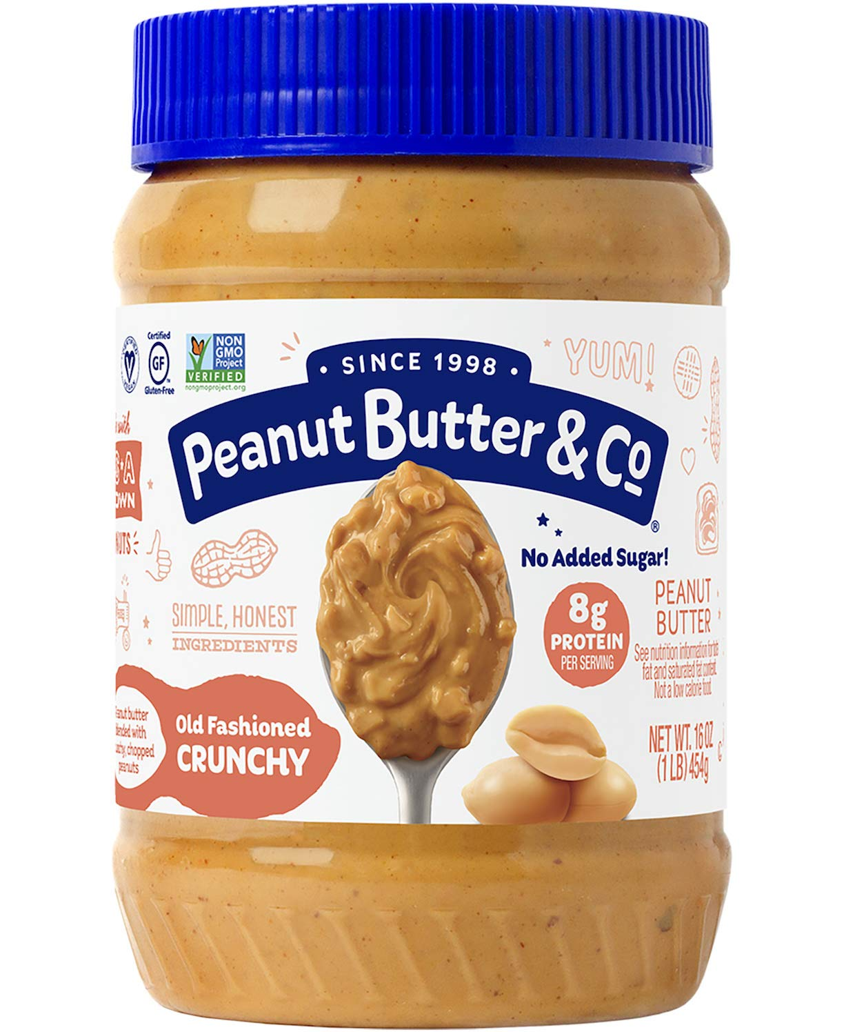 Peanut Butter & Co. Old Fashioned Crunchy Peanut Butter, Non-GMO, Gluten Free, Vegan, No Sugar Added, 16 Ounce (Pack of 1)