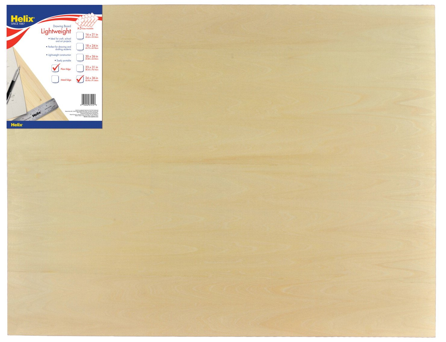 Helix Wooden Lightweight Drawing Board, 24 x 36 Inch, Plain Edge (37415) by Maped Helix USA