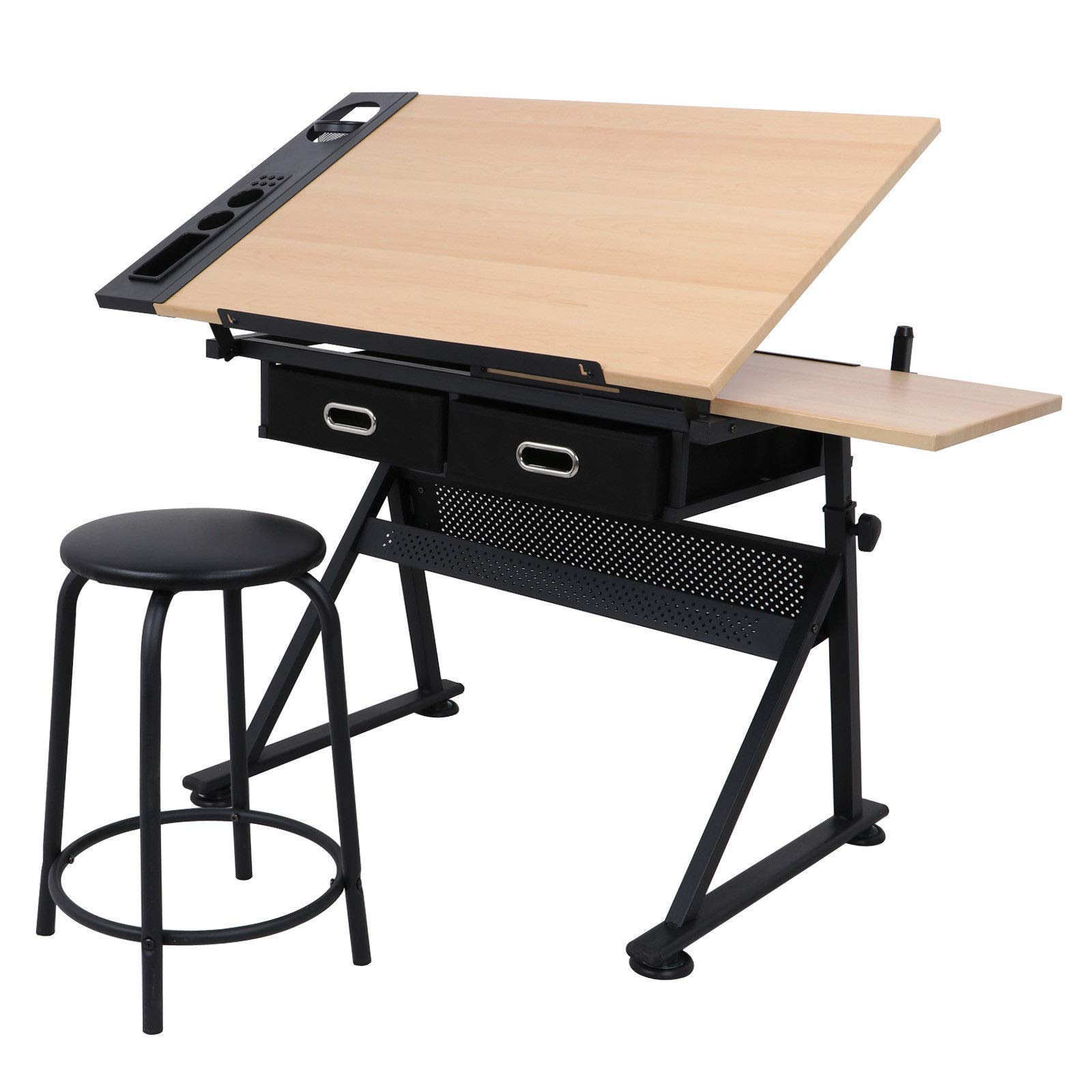 Cirocco Height Adjustable Drawing Drafting Table Desk w/Drawer Chair Stool | Tiltable Board Tabletop Office Workstation Durable Ergonomic Wide Ample Storage for Crafting Reading Painting Writing Art