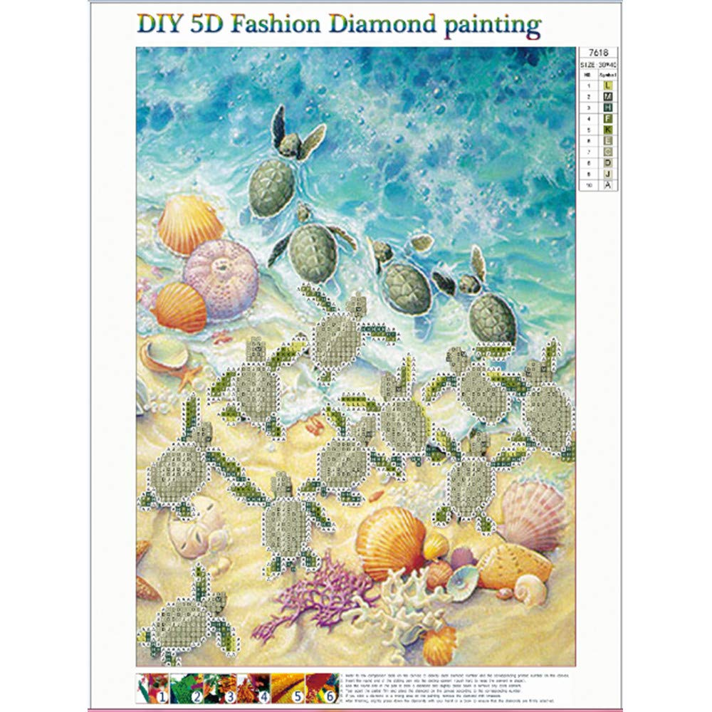 REYO 1 Cent Item DIY 5D Diamond Painting Sea Crystal Rhinestone Embroidery Wall Stickers Pictures Arts Craft for Home Wall Decor 30X40cm