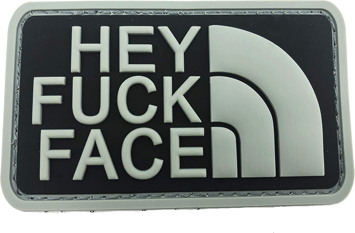 Hey F*** Face PVC Airsoft Paintball Patch Grey