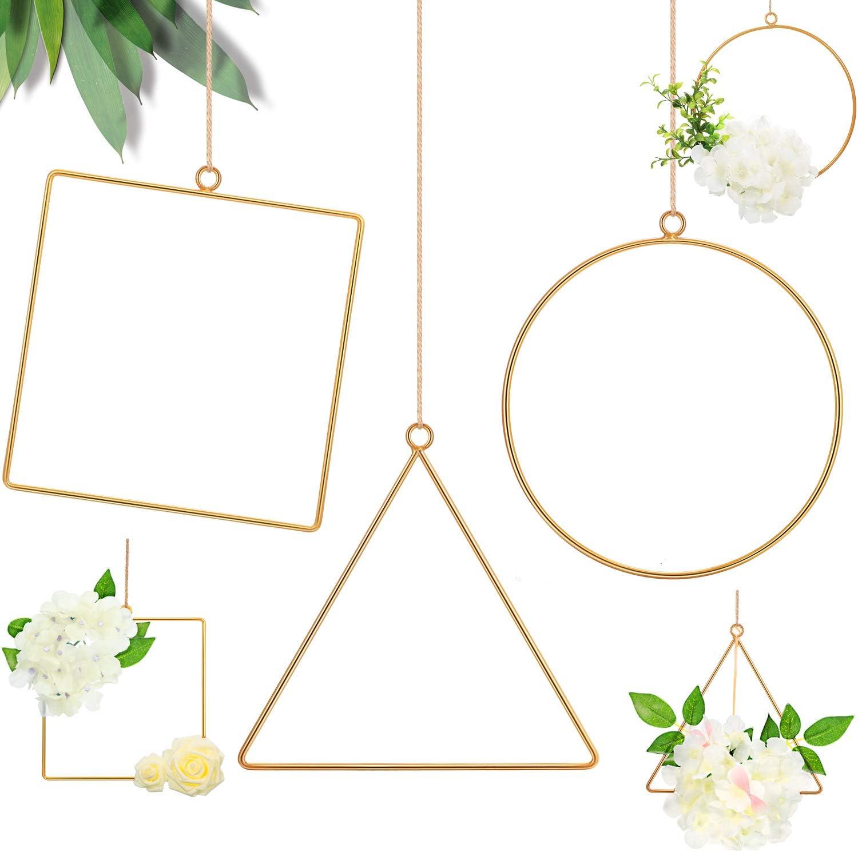 6 Pieces Metal Floral Hoop Wreath Geometric Hoop Wreath Frame Round Triangle Square Hoop Frame Flower Garland Hanging Pendant for DIY Flower Arrangement Macrame Wall Hanging Wedding Wall Decor
