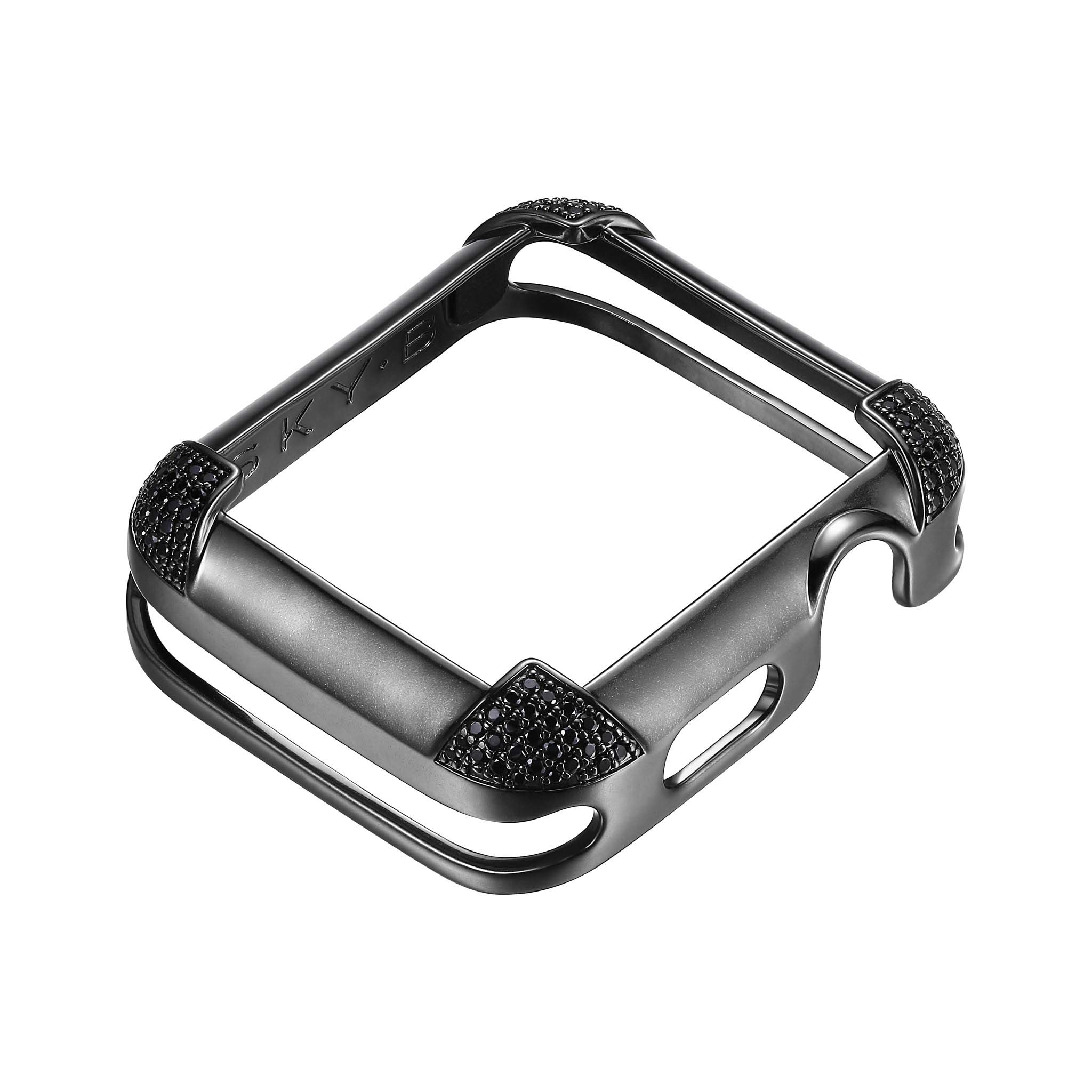 Matte Black Rhodium Plated Jewelry-Style Apple Watch Case with Genuine Spinel Pavé Corners - Large (Fits 42mm iWatch) by SkyB (Image #2)