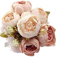 Amkun - Bouquet vintage di peonie artificiali in seta, ornamento per casa e matrimoni, confezione da 1