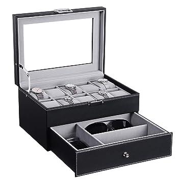 Amazon.com: BEWISHOME Caja de reloj organizador con cajón de ...