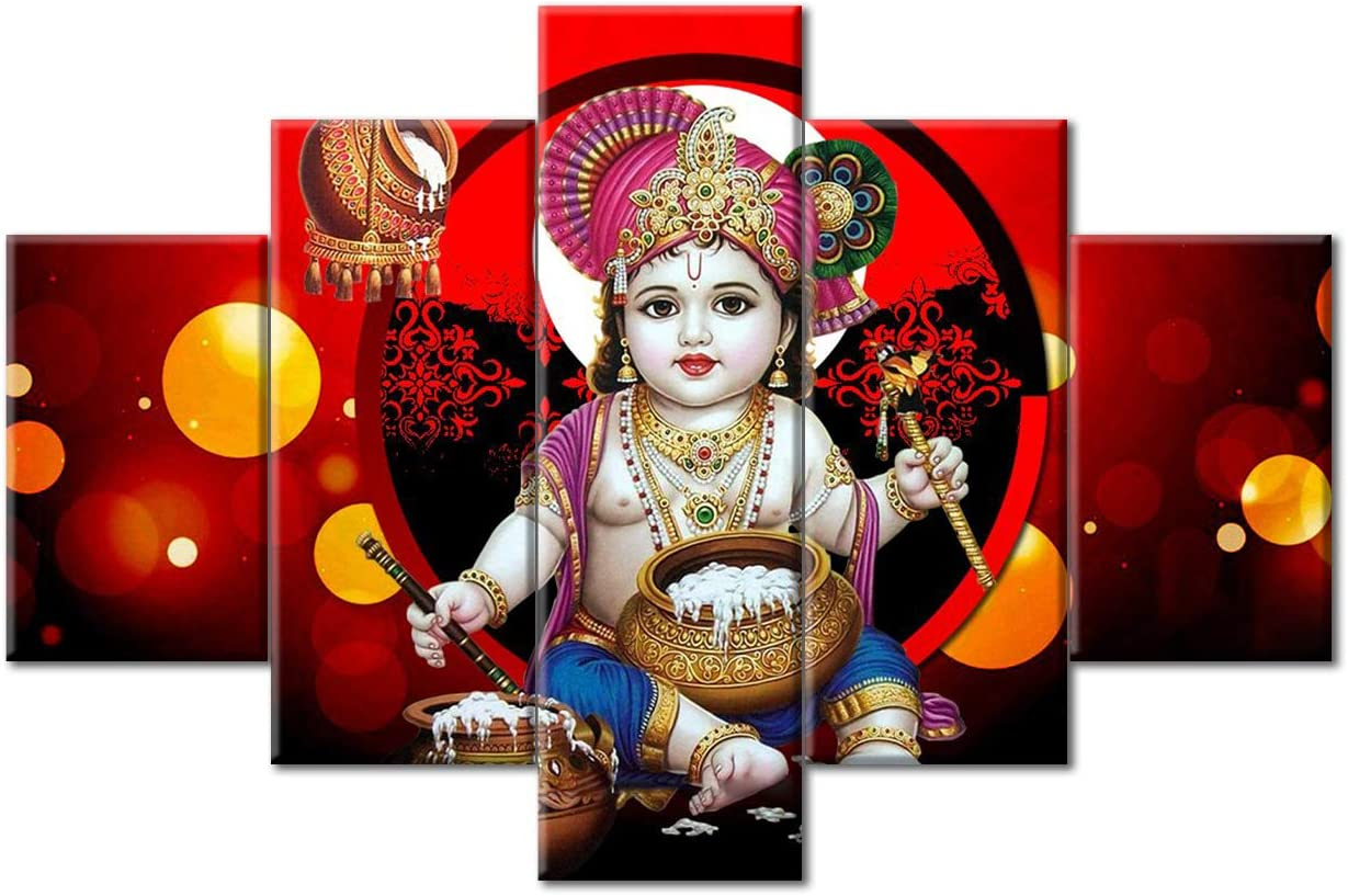 TUMOVO Lord Krishna Wall Decor Indian Krishna Home Decor Hindu God Bedroom Decor Modern Wall Decorations for Living Room 5 Piece Modern Artwork Framed and Stretched Ready to Hang (60''Wx40''H)