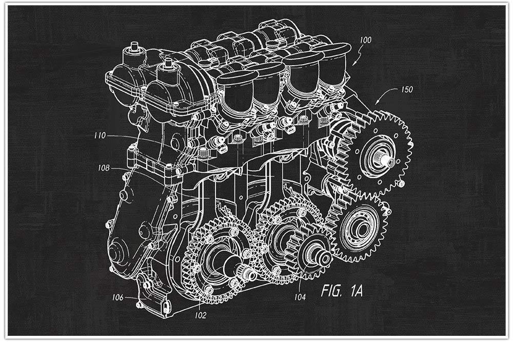nascar engine blueprint patent poster wall art NASCAR Engine Parts Diagram