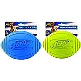 Nerf Dog Squeak Ridged Rubber Football Dog Toy, Medium/Large, (2-Pack), Green and Blue