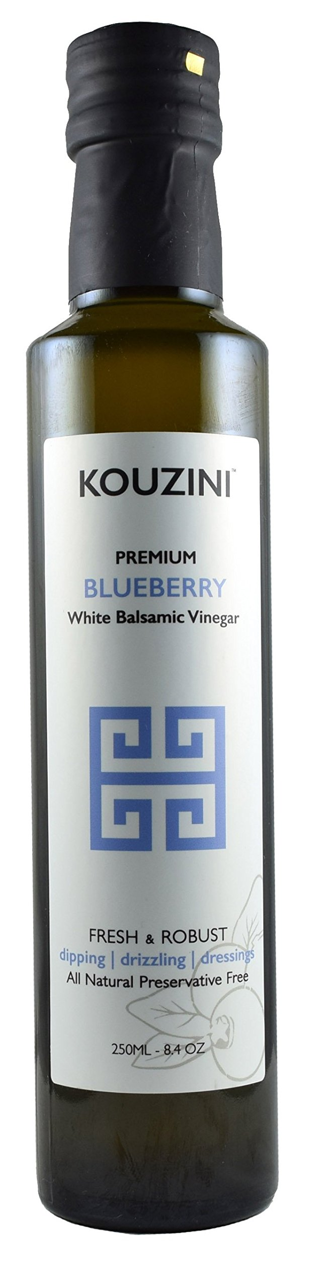 Kouzini White Blueberry Balsamic Vinegar (Limited time edition) 1 Blueberry Naturally thick, sweet and delicious. Great for drizzling, dippings, dressings, and marinades.