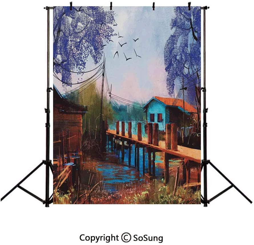 10x15Ft Vinyl Lake House Decor Backdrop for Photography,Vintage Hand Drawn Artisan Picture of Fishing Village with Old Bridge and Gulls Background Newborn Baby Photoshoot Portrait Studio Props Birthda