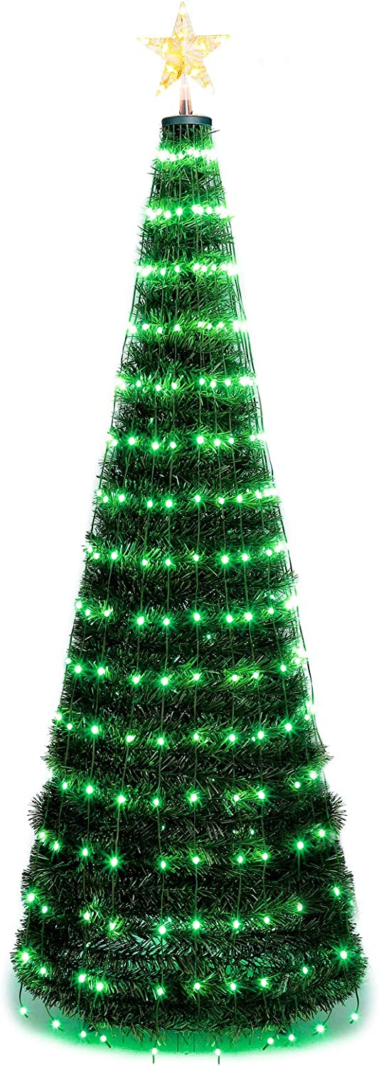 Hrabn Artificial Christmas Tree,5FT Prelit Christmas Tree with Lights and Star Multi-Color 244 LED Lights Easy Assembly Foldable Stand Perfect for Indoor and Outdoor Holiday Decoration