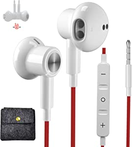 AILZPXX Wired Earbuds 3.5mm Headphones with Mic & Carrying Case, In-Ear HiFi Stereo Earphones for Samsung galaxy A12 A72 A52, iPhone 6s Plus 5s, OnePlus 6 5T, Google Pixel 4a 3a XL, Moto G Stylus 2021