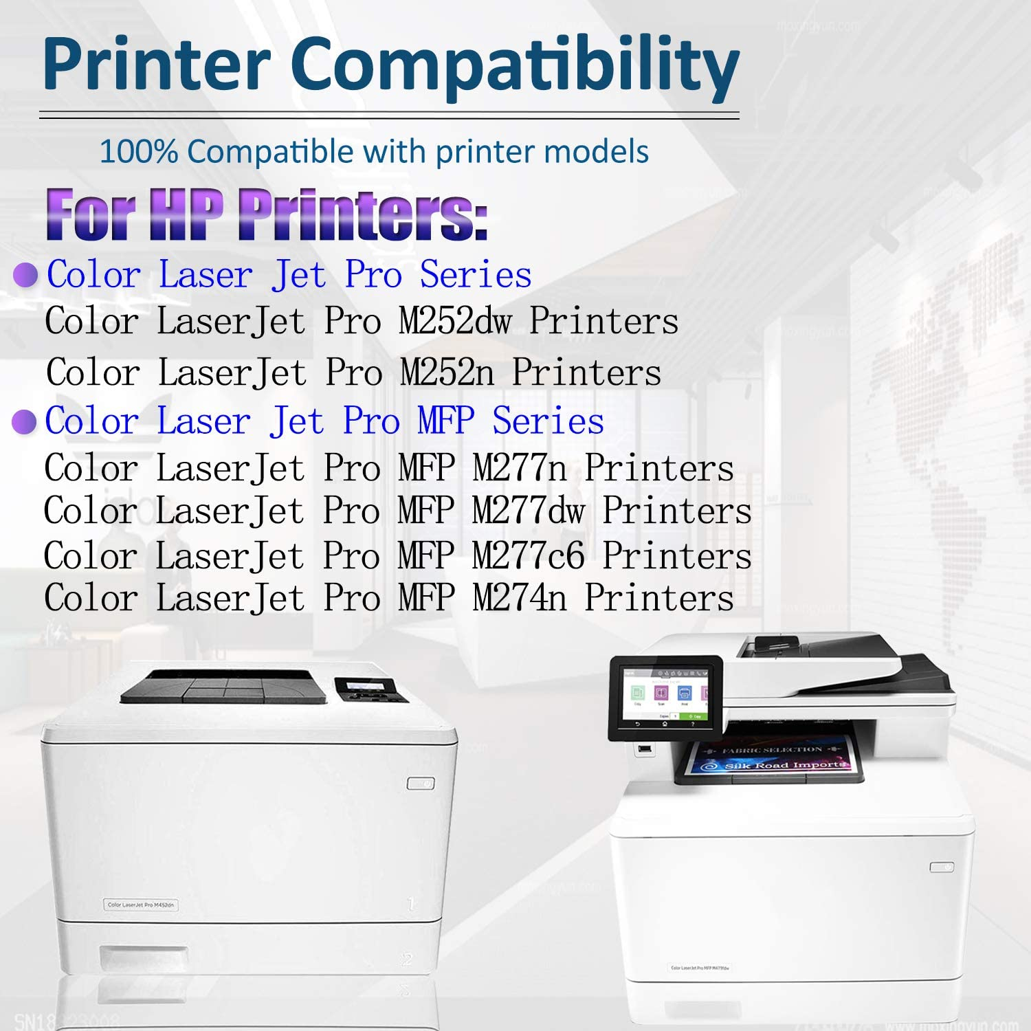 Compatible Toner Cartridge Replacement for HP 201X CF400X CF401X CF402X CF403X Laserjet Pro M252dw M252n MFP M277n MFP M277dw MFP M277c6 MFP M274n,Sold by SinaToner. 3BK+1C+1Y+1M 6-Pack