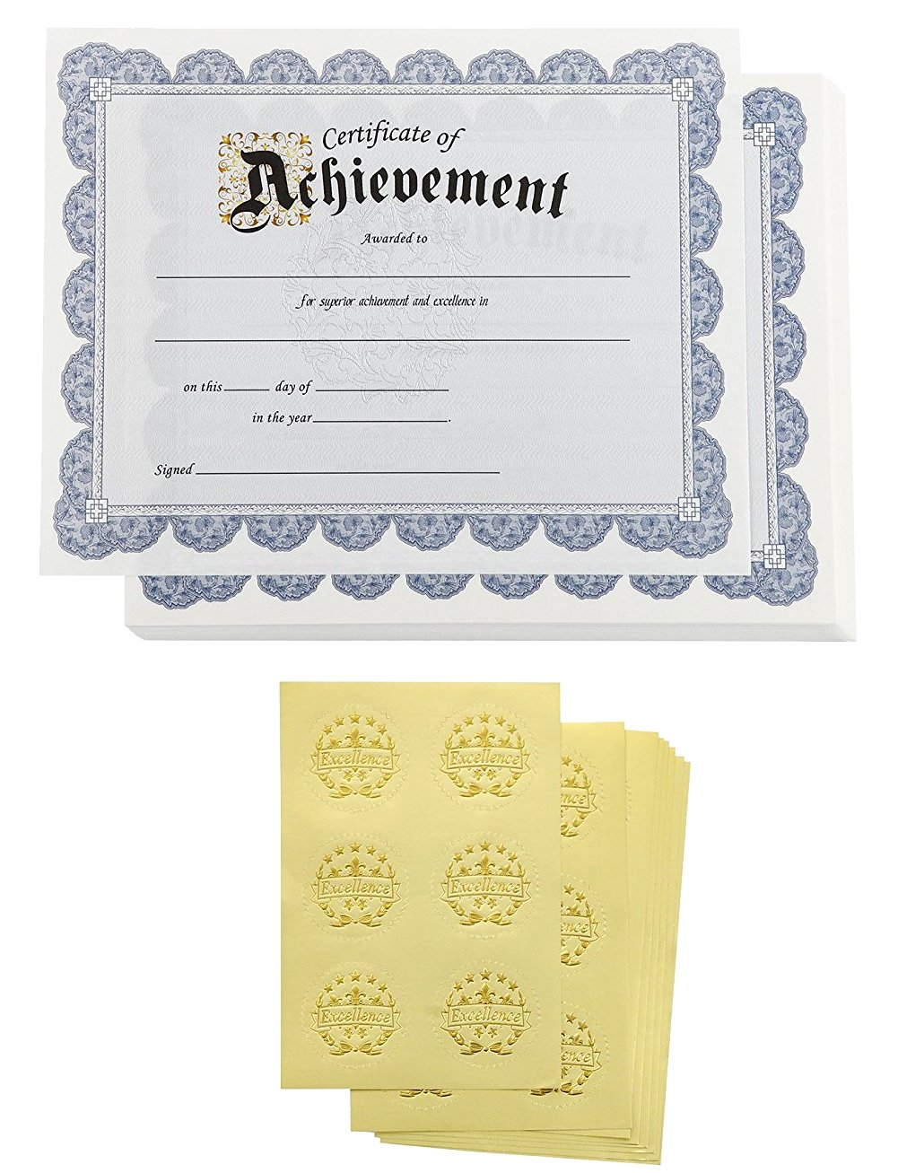 Certificate Papers – 48 Certificate of Achievement Award Certificates with 48 Excellence Gold Foil Seal Stickers, for Student, Teacher, Professor, Blue, 8.5 x 11 inches