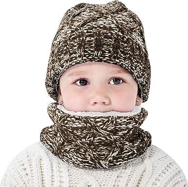 Kids Unisex Babies Toddler Winter Beanie Warm Soft Hat Scarf Ear Flap Knit Cap