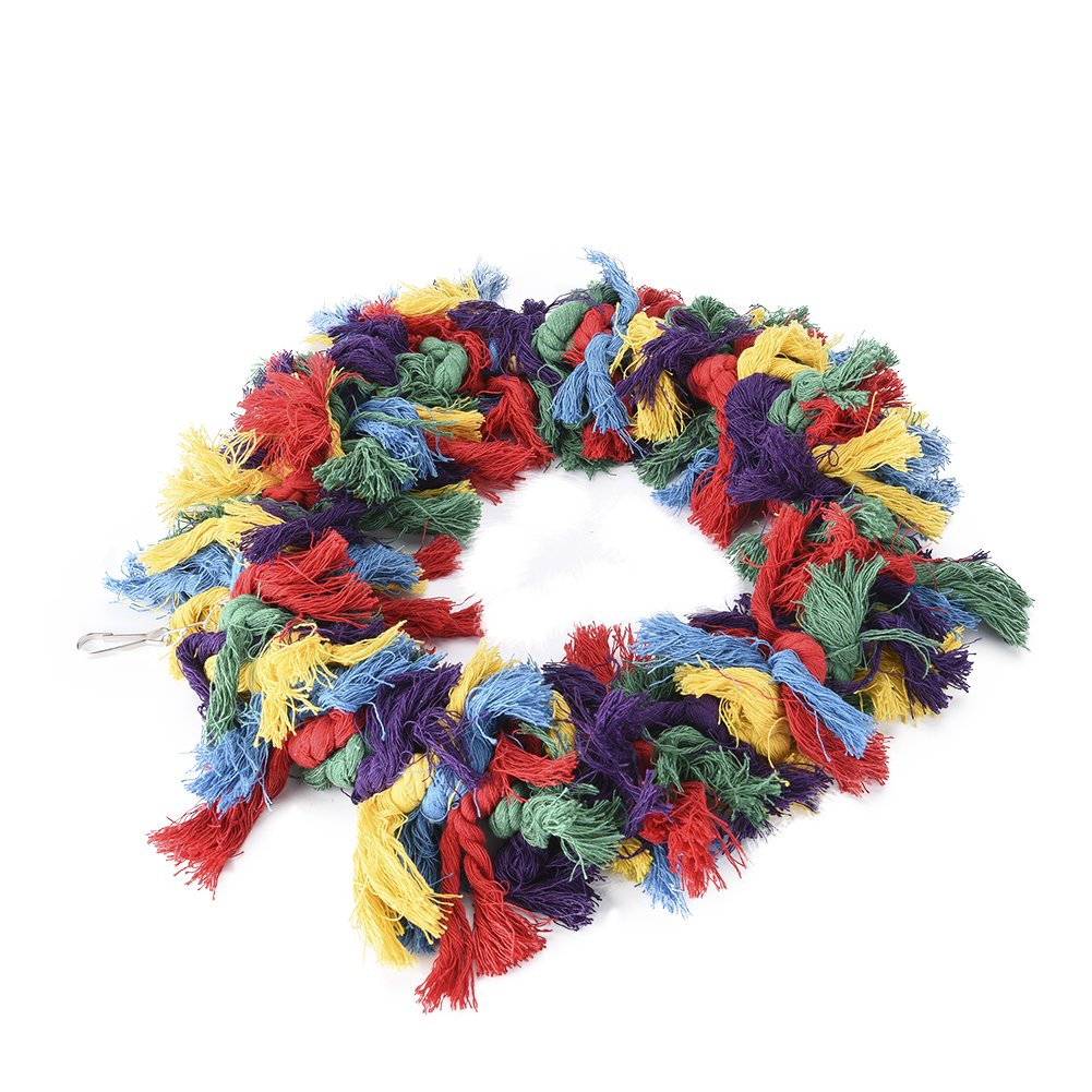 Pet Bird Cotton Ring Play Exercise Chew Cotton Snuggle Ring Bird Toy by Hypeety (Image #3)