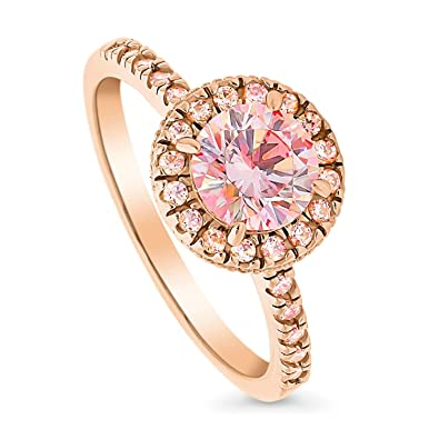 1f135dbdc BERRICLE Rose Gold Plated Sterling Silver Halo Promise Engagement Ring Set  w/Swarovski Zirconia Size