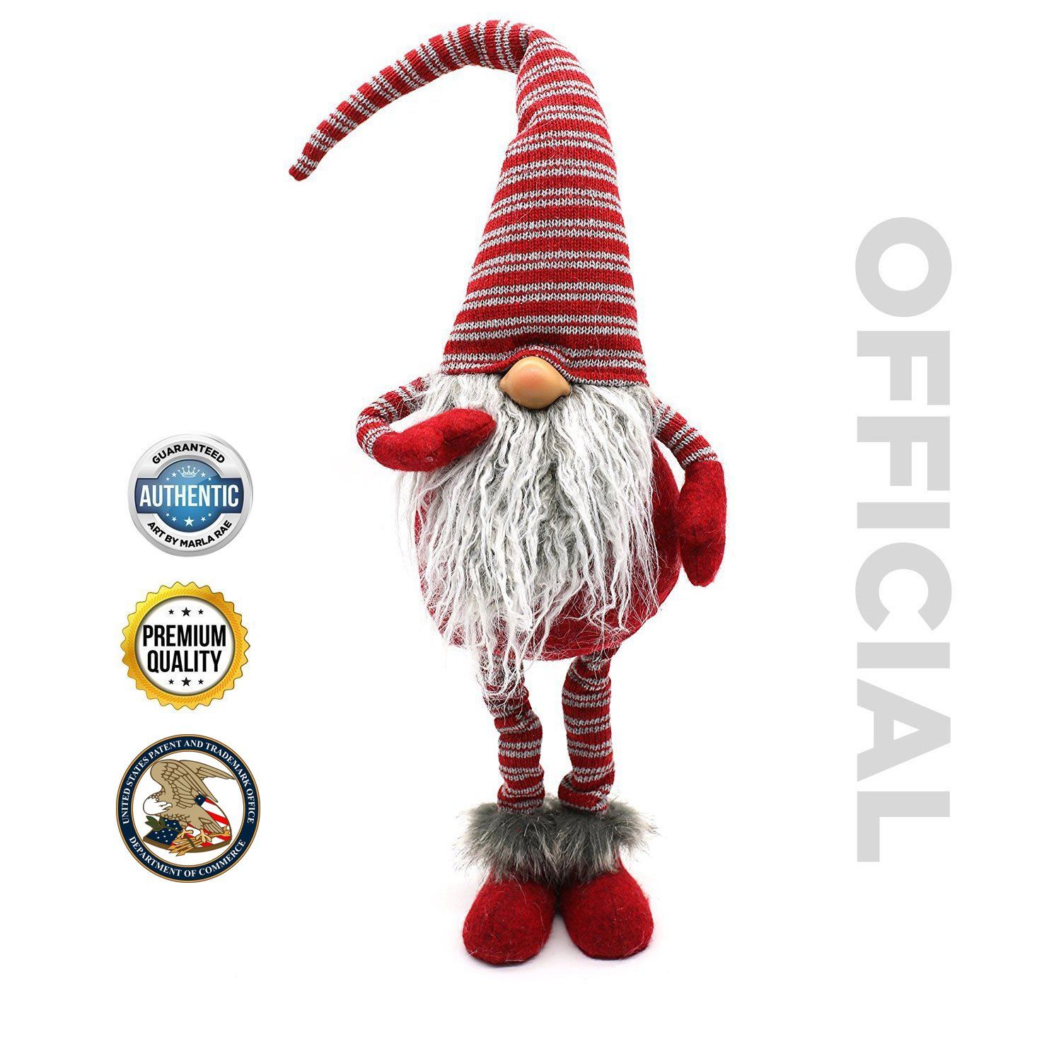 Handmade Christmas Gnome Ornaments For Men, Women & Kids | Well Crafted Luxury Figurines Set For Home Décor, New Year's Eve Parties, Personalized Gifts, Table Centerpieces, Garden & More- Red Tall