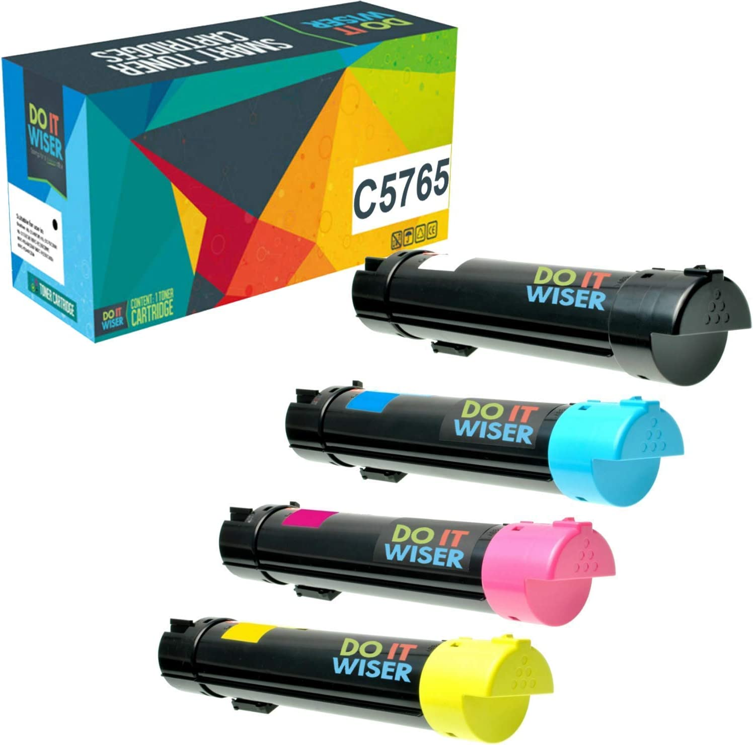Do it Wiser Compatible Toner Cartridge Replacement for Dell C5765dn C5765 High Yield (Black, Cyan, Magenta, Yellow, 4-Pack)