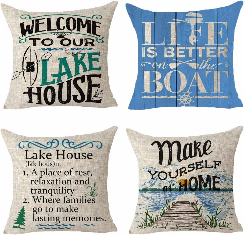 Set of 4 Words Welcome To Our Lake House Life Is Better On The Boat Wood Grain Mountain Color Painting Pillows Cotton Linen Decorative Home Office Throw Pillow Case Couch Cushion Cover 18X18 inches