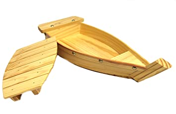 100% Natural Bamboo Wooden Sushi Tray Serving Boat Plate for Home or Restaurant  sc 1 st  Amazon.com & Amazon.com | 100% Natural Bamboo Wooden Sushi Tray Serving Boat ...