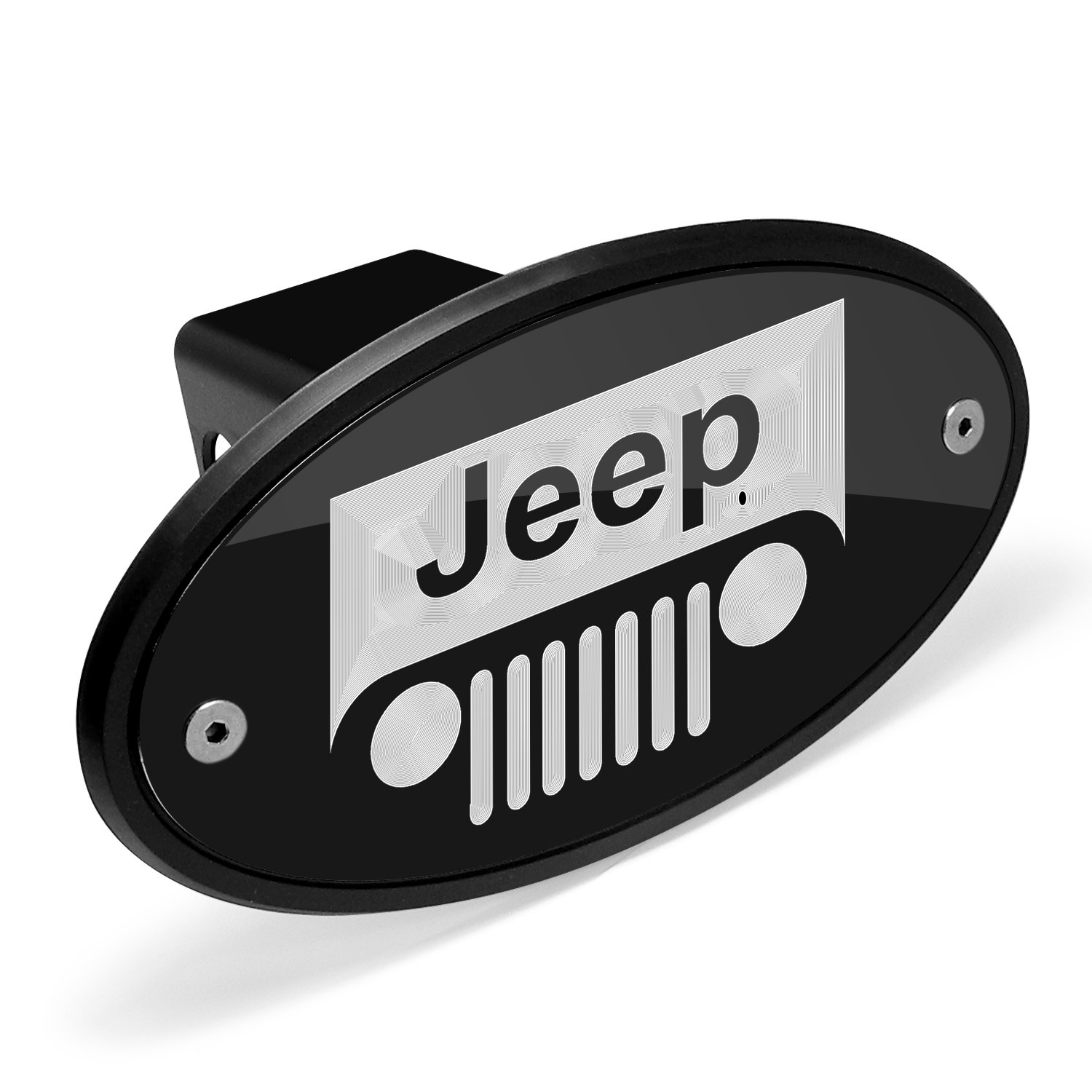 Jeep Grill Logo Black Metal Plate 2 inch Tow Hitch Cover Universal Brass