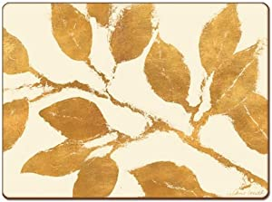 Cala Home 4 Premium Hardboard Placemats Table Mats, Golden Leaves