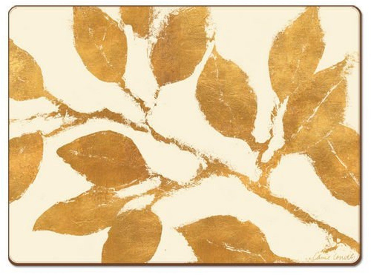Cala Home 4 Premium Hardboard Placemats Table Mats, Golden Leaves by Cala Home (Image #1)
