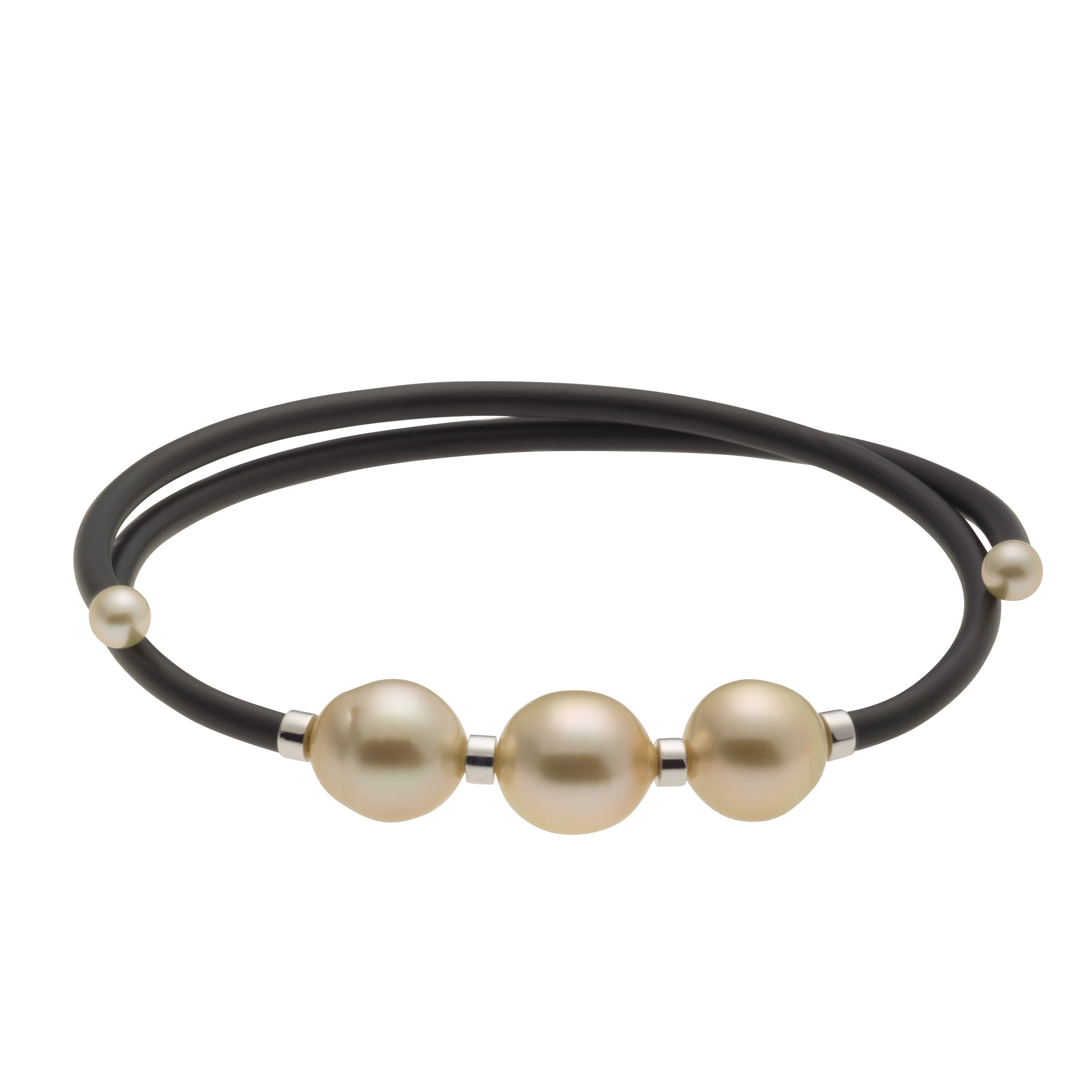 UNIQUE UNISEX GOLDEN SOUTH SEA AND AKOYA CULTURED PEARL BANGLE BRACELET