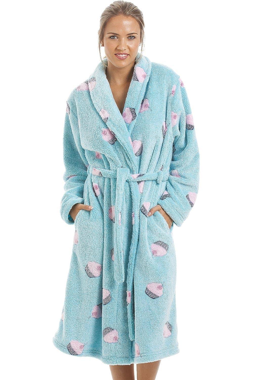 Camille Womens Ladies Supersoft Fleece Aqua Blue Cupcake Bathrobe Gown