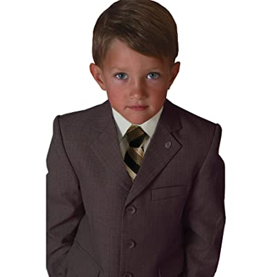 Johnnie Lene Brown Color Textured Suit Set for Boys From Baby to Teen