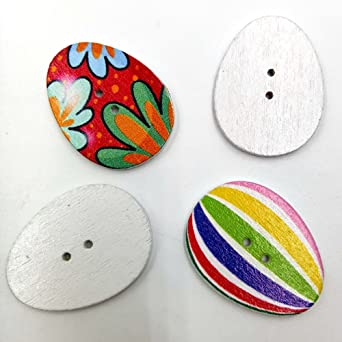 10 pcs 31x23mm Easter egg 2 hole wooden buttons sewing supplies assorted colors