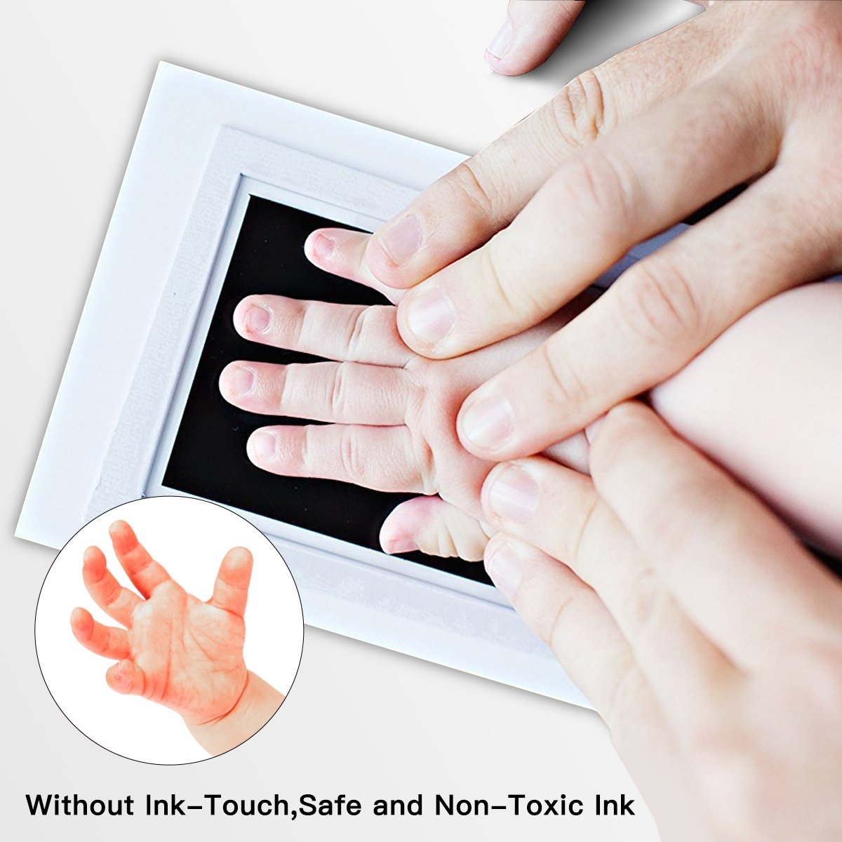Baby Handprint and Footprint Photo Frame Kit by TopSuccess Without Ink-Touch,Safe and Non-Toxic Ink Print Kit for Baby Babyprints Inkpad Best for Newborn Baby Gifts GM10 (Black) by TopSuccess (Image #4)
