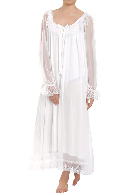 Vintage Inspired Nightgowns, Robes, Pajamas, Baby Dolls Latuza Womens Long Sheer Vintage Victorian Nightgown with Sleeves $29.99 AT vintagedancer.com